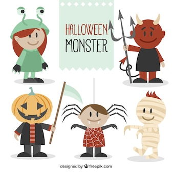 Happy monsters ready for halloween