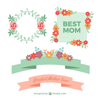 Happy Mother's Day  labels with flowers