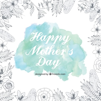Happy Mother's Day background with a watercolor stain