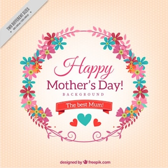 Happy mother's day card with a floral wreath