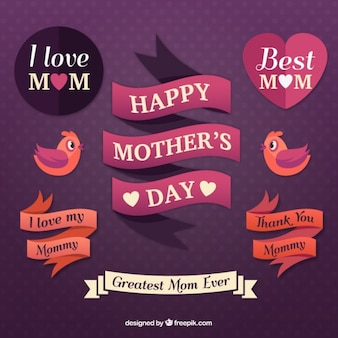 Happy mother's day labels and ribbons
