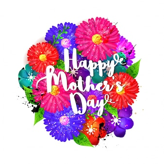 Happy Mother's Day lettering with colorful flowers, Beautiful floral background for greeting card design