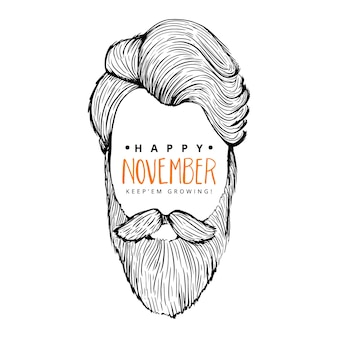 Happy movember background of man with hipster style