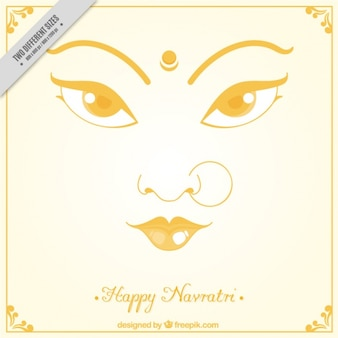 Happy navratri background with face of the durga goddess