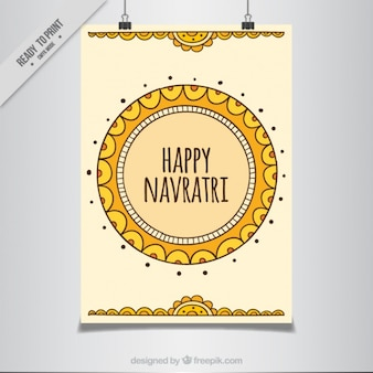 happy navratri ornamental abstract poster