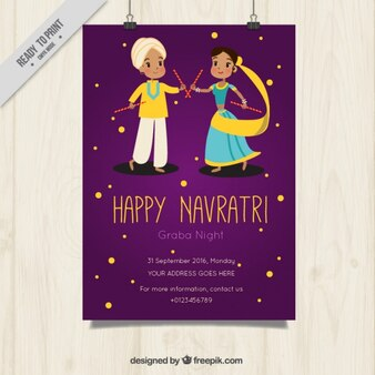 Happy navratri poster of couple dancing