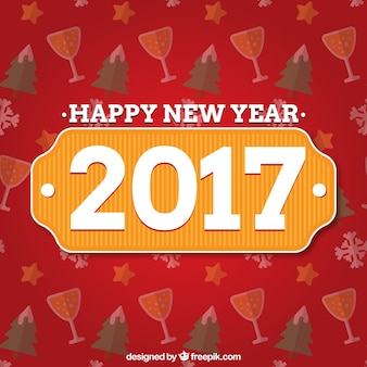 Happy New Year 2016 Red Background