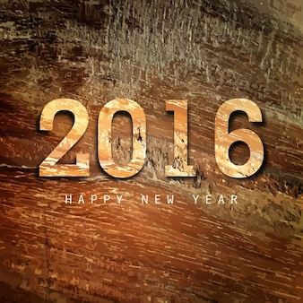 Happy New Year 2016 Wood Texture Background