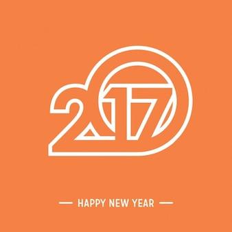 Happy new year 2017 orange background