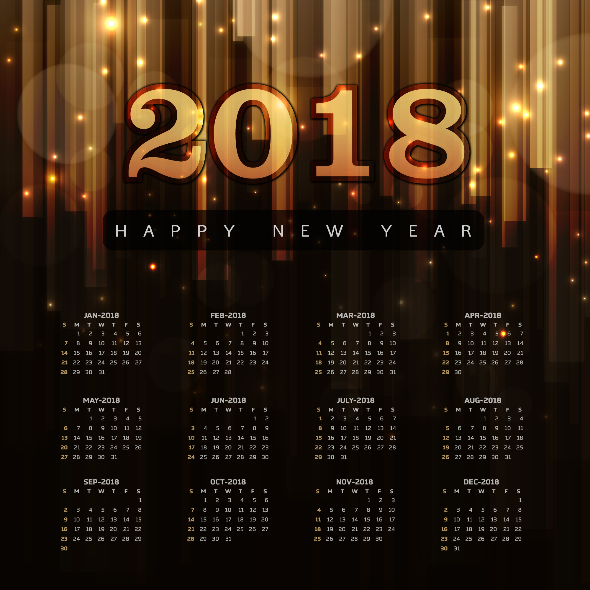 Happy New Year 2018 Elegant Royal background with Golden Bars Effect