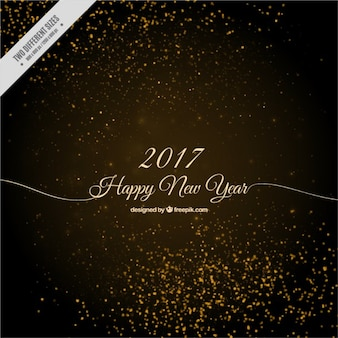 Happy new year background with golden sparkles