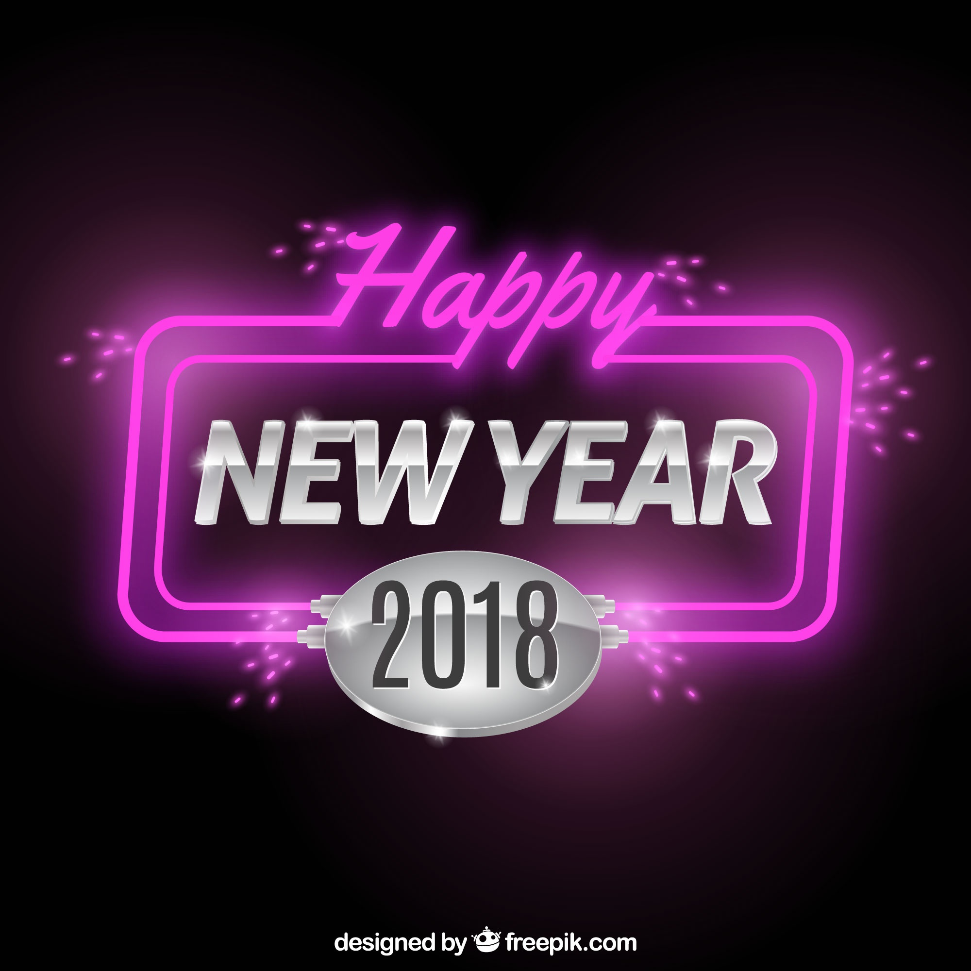 Happy new year background with neon lights