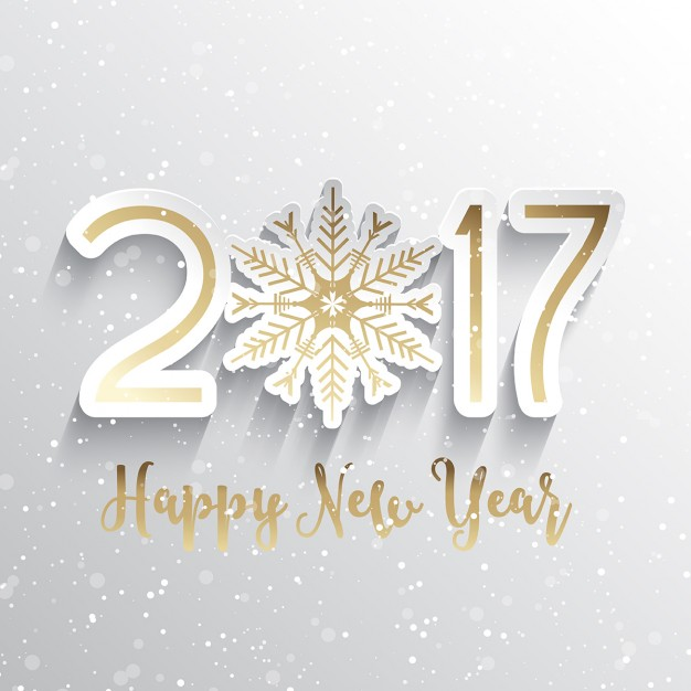 Happy new year background with snowflake design