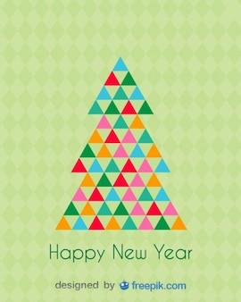 Happy New Year Greeting Card of a Christmas Tree