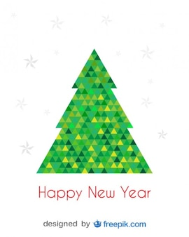 Happy New Year Greeting Card of Christmas Tree done with Green and Yellow Triangles
