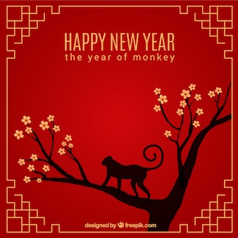 Happy new year with outline cherry tree background