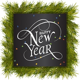 Happy new year with pine frame and colorful confetti