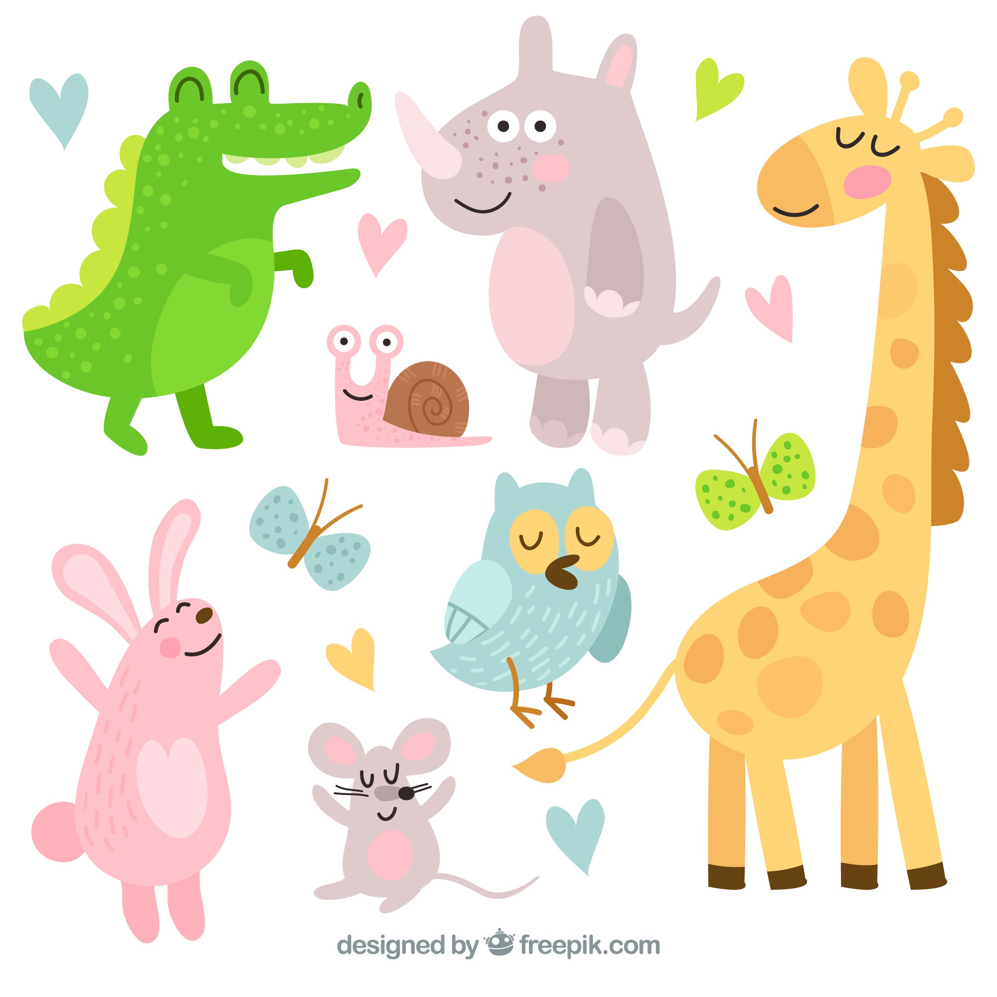 Happy pack of cartoon animals