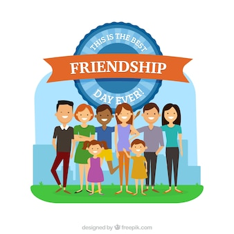 Happy people celebrating friendship day