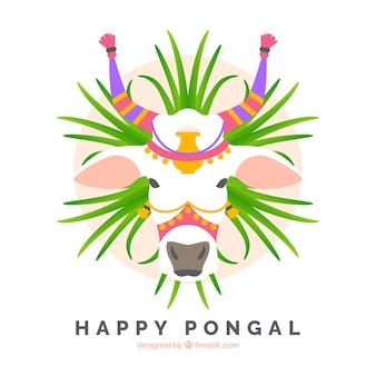 Happy pongal background with cow in flat design