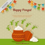 Happy pongal background with garlands and sugarcane