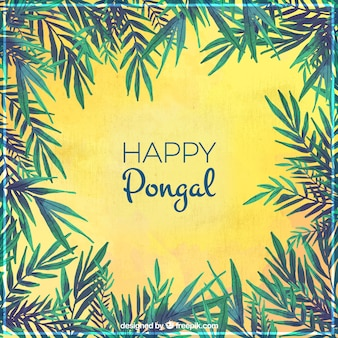 Happy pongal background with green branches