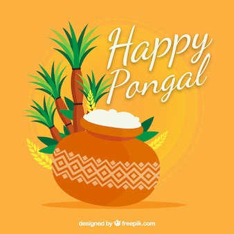 Happy pongal background with palm trees and rice
