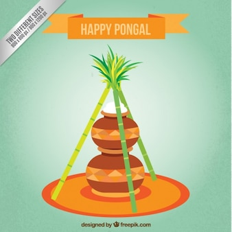 Happy Pongal background with rice pots