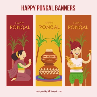 Happy pongal banners pack