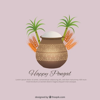 Happy Pongal on a pink background