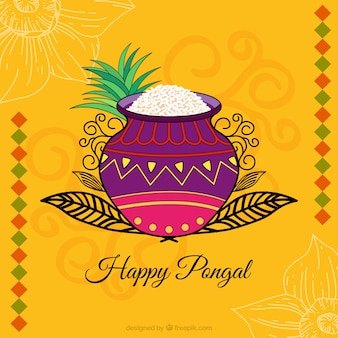 Happy pongal with colorful background