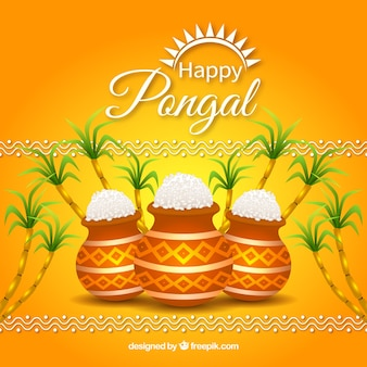 Happy pongal with pots background
