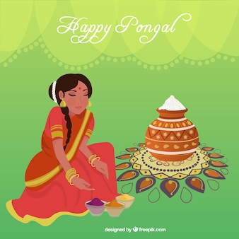 Happy pongal woman illustration