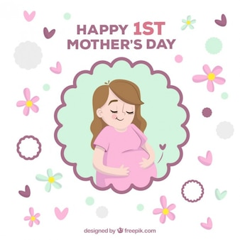 Happy pregnant woman mother's day card