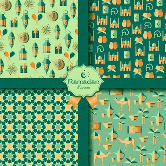 Happy ramadan patterns set