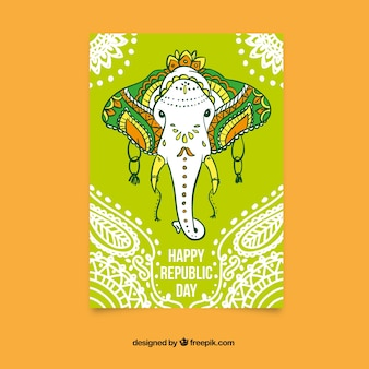 Happy republic day card with an elephant