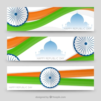 Happy republic day modern banners pack