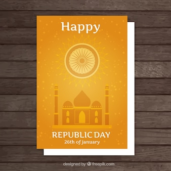 Happy republic day orange card
