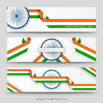 Happy republlic day ribbons banners