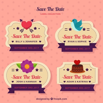 Happy set of colorful wedding labels