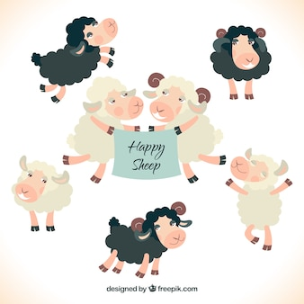 Happy sheeps illustration