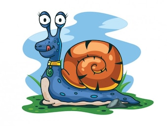 Happy snail character vector illustration