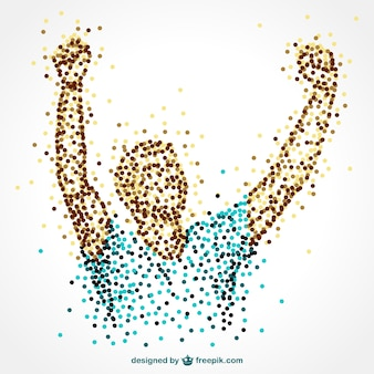 Happy sportsman made of dots