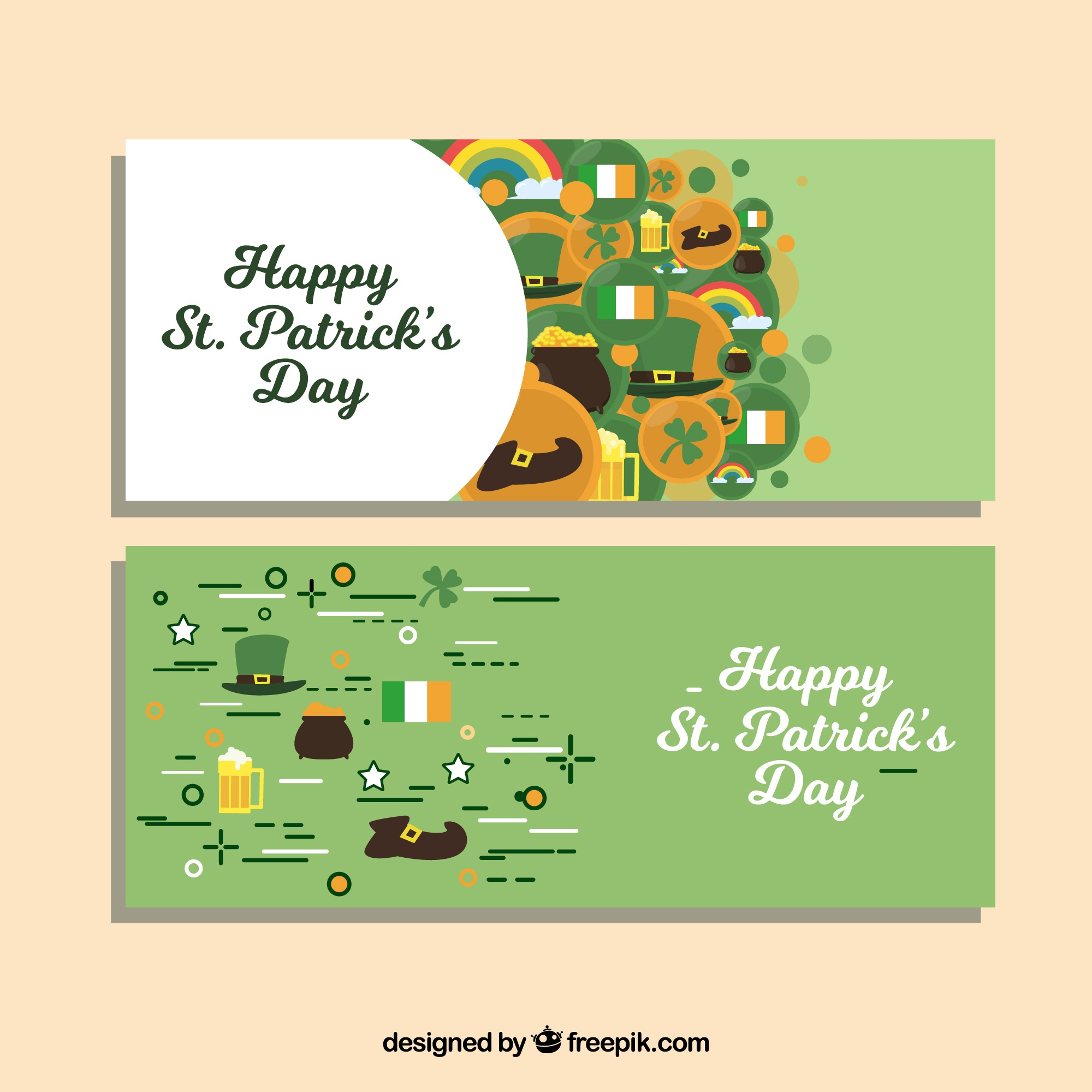 Happy st. patrick's day banners in flat design
