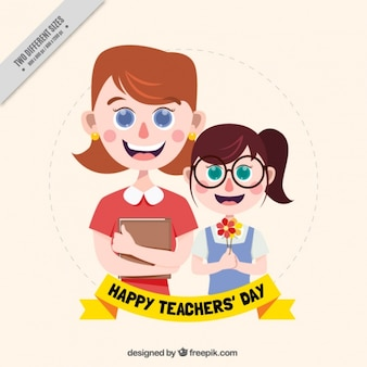 Happy student with her teacher