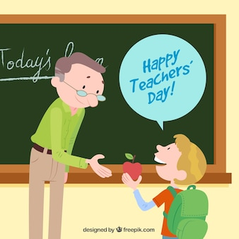 Happy teacher's day, a student with an apple