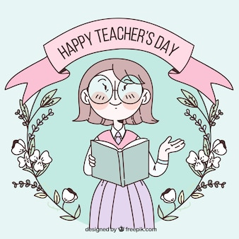 Happy teacher's day in pastel colours with a flower wreath