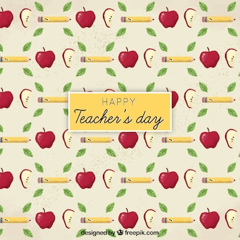 Happy teacher's day, pattern with pencils, apples and leaves