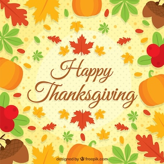 Happy thanksgiving background with autumn leaves