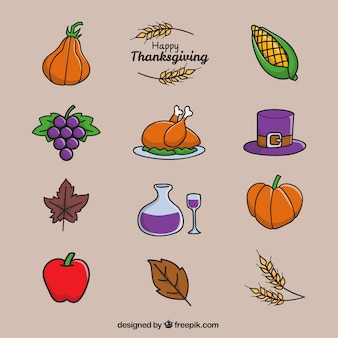 Happy thanksgiving day with a selection of items